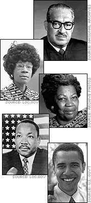 Thurgood Marshall, Shirley Chisholm, Toni Morrison, Martin Luther King, Jr., and Barack Obama