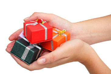 Small gifts in hands