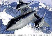 SR-71 Over Snow Capped Mountains
