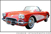 Red 1958 Corvette Convertible