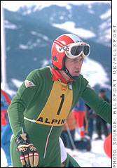 Franz Klammer contemplates, what will be, his gold medal run at the 1976 Winter Olympics