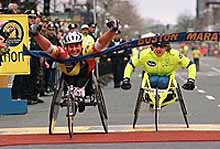 Louise Sauvage wins the 1998 Boston Marathon