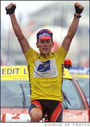 Lance Armstrong wins the Tour de France