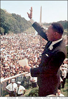 Dr. Martin Luther King, Jr. addresses crowd in Washington, DC